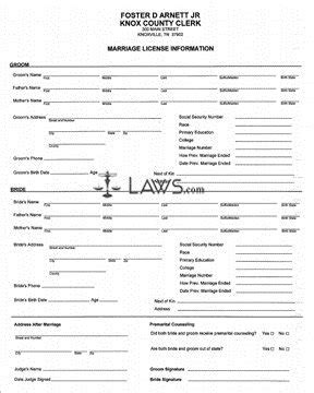 Connecticut Marriage License Records Form Application For Marriage License Tennessee Forms