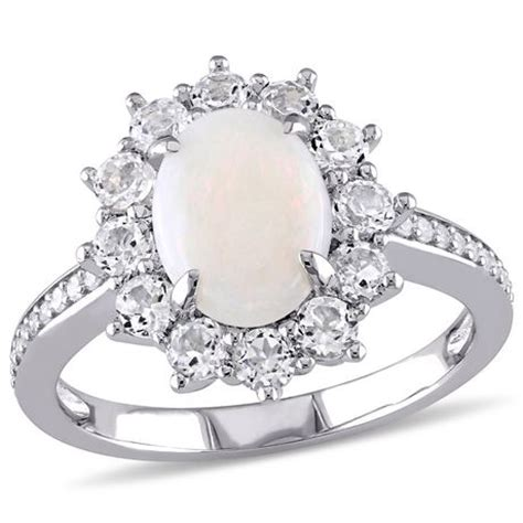 2 carat t g w opal and white topaz with 0 10 carat t w