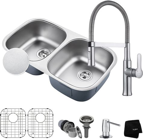 kitchen faucet and sink combo kraus kbu22e164042ch 32 inch bowl kitchen sink and flex commercial faucet combo with
