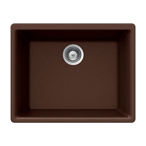 Undermount Kitchen Sinks Lowes Shop Houzer 18 In X 24 In Copper Single Basin Granite Undermount Kitchen Sink At Lowes