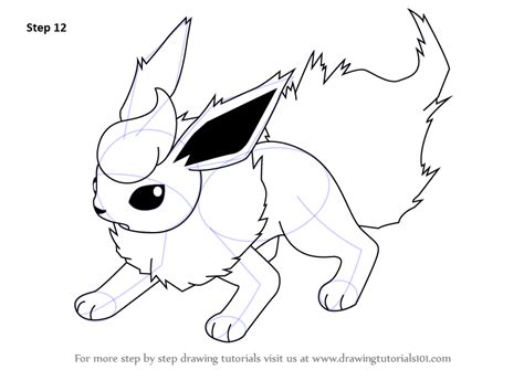 Step By Step How To Draw Flareon From Pokemon Flareon Coloring Pages