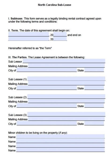 Free North Carolina Sublease Agreement Pdf Word Doc Free Nc Will Template
