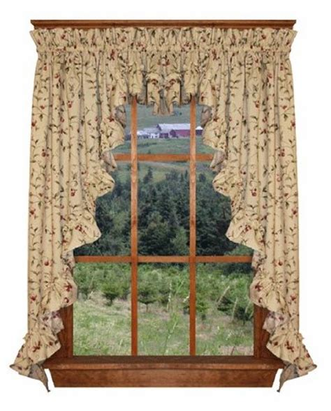 63 inch swag curtains cherry blossoms print ruffle 3 piece swag curtains set 132