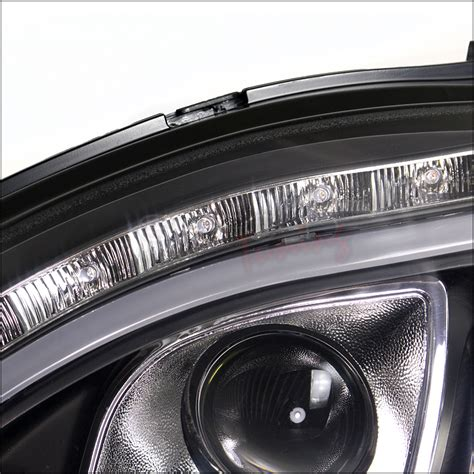 Drl Mercy S Class W220 98 06 mercedes w220 s class halogen model led drl signal projector headlights black