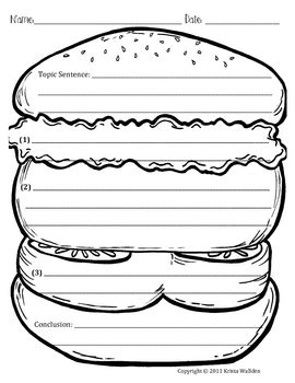 hamburger book report template hamburger paragraph picture template by krista wallden