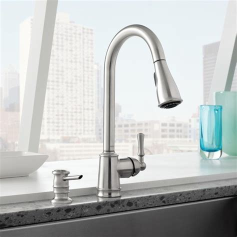 stainless faucets kitchen moen lancaster spot resist stainless one handle high arc