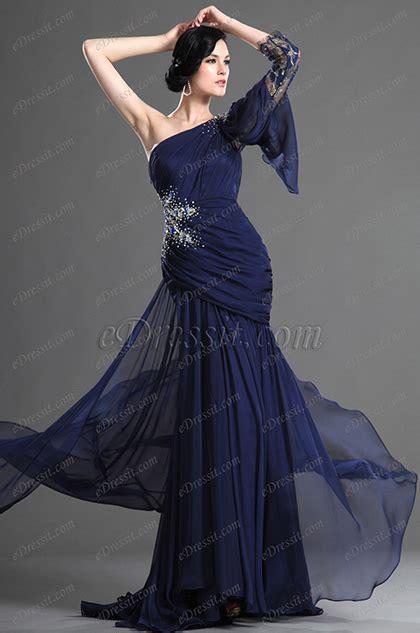 lilim darkness wedding blue edressit dunkel blaue abendkleid mit einzelnschulter
