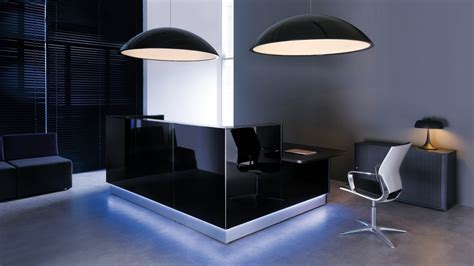 desk lights office modern black reception desk design for office with light