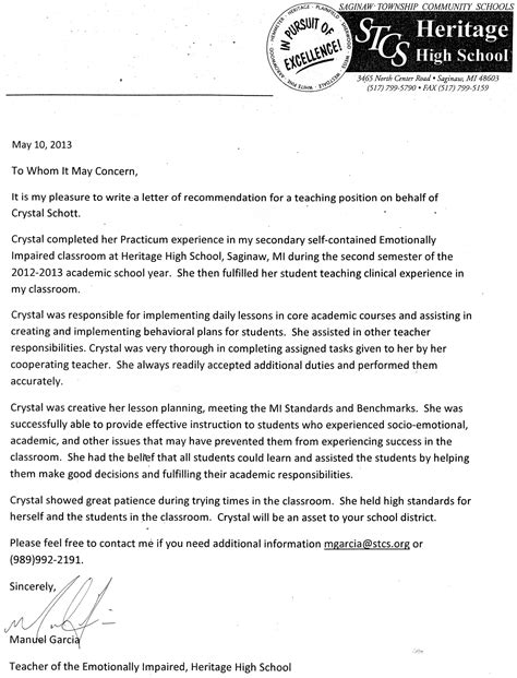 Recommendation Letter For Continuing Education reference letter for special education student docoments