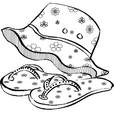 beach hat coloring page black and white flip flops coloring pinterest
