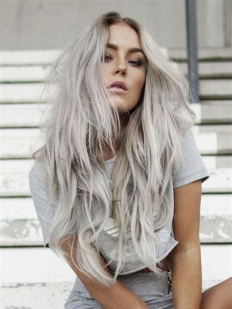 cut off long blonde hair picture of long blonde grey hair with waves and a cool