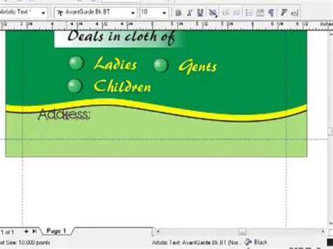corel draw x4 visiting card creating a visiting card in corel draw part 3 youtube