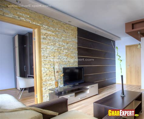 Home Elevation Design Free Download Lcd Unit Wall Design In Living Room Gharexpert