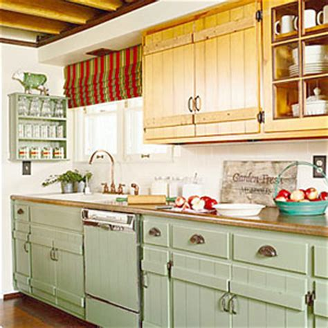 painted country kitchen cabinets mixing woods and finishes in the kitchen green kitchen