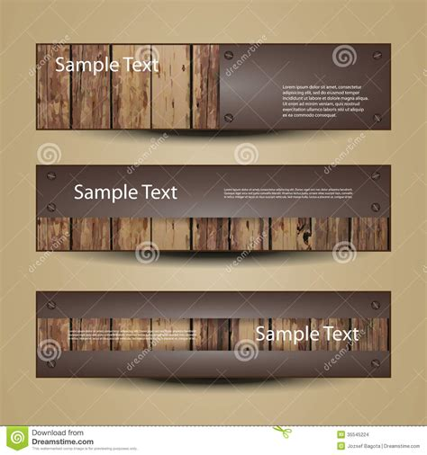 wood header design exle banner or header designs with wooden surface stock images
