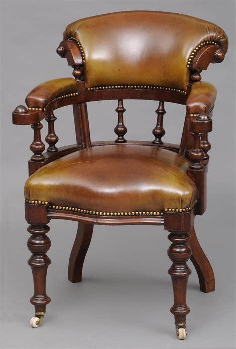 Antique Desk Chair English Antique Mahogany Leather Chair For Desk