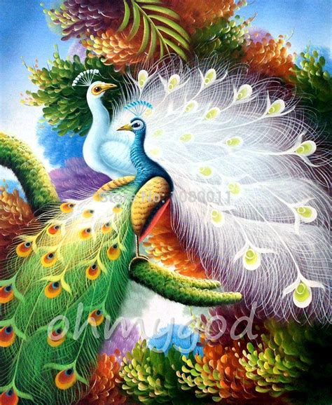 Painting 200x80cm 2 Peacock 2018 painting peacock decor handmade paintings on canvas wall set for hotel or home