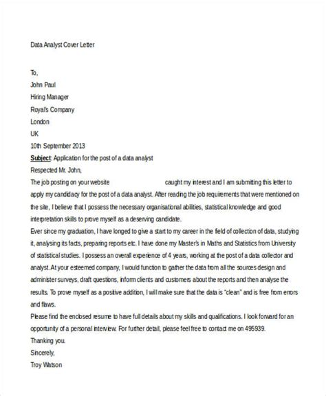 Cover Letter For Data Analyst by 39 Free Cover Letter Sles Free Premium Templates