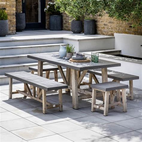 concrete table and bench set chilson small table and bench set cement fibre home