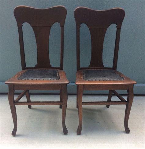 victorian set  tiger oak quartersawn dining chairs