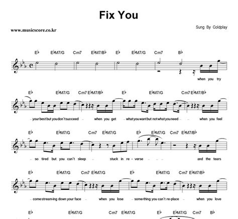 Kaos Coldplay Fix You coldplay fix you 악보 뮤직스코어 악보가게