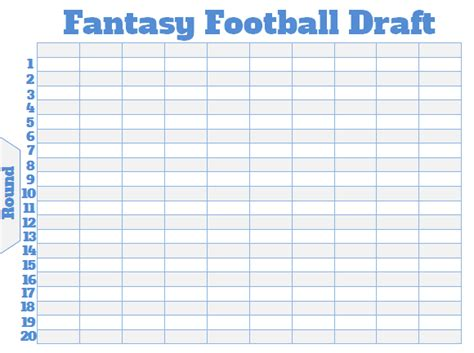 Fantasy Football Draft Board Creator Free Printable Board Roster Template