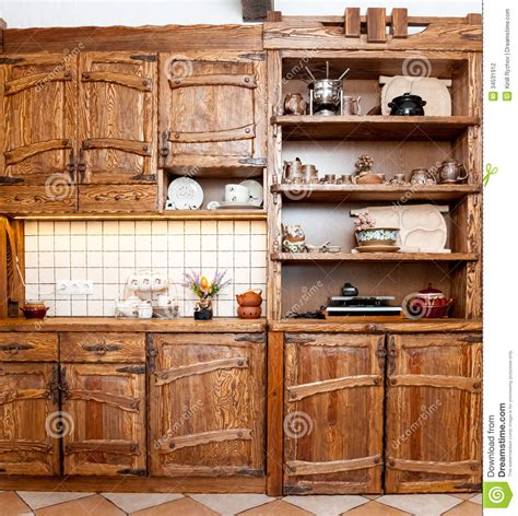kitchen wooden furniture furniture for kitchen in country style stock photography