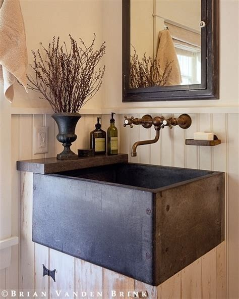 Country Rustic Bathroom Ideas by Rustic Powder Farmhouse Sink Vanity Bathrooms