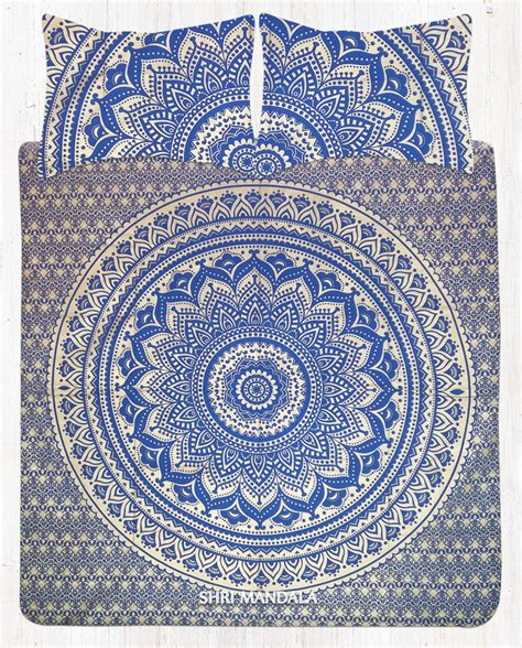 mandala bedding blue gold bohemian bedding mandala bedspread set with two