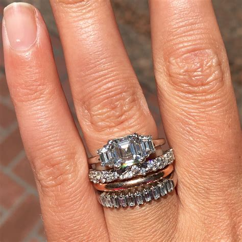 Wedding Ring Stack by Asscher Cut Ring Stack Gold Wedding Band