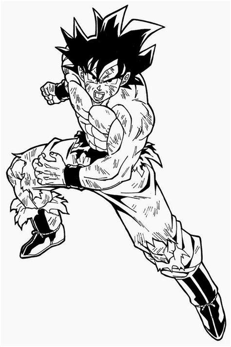 imagenes de goku a color para dibujar dibujo de goku adulto normal para pintar y dibujar