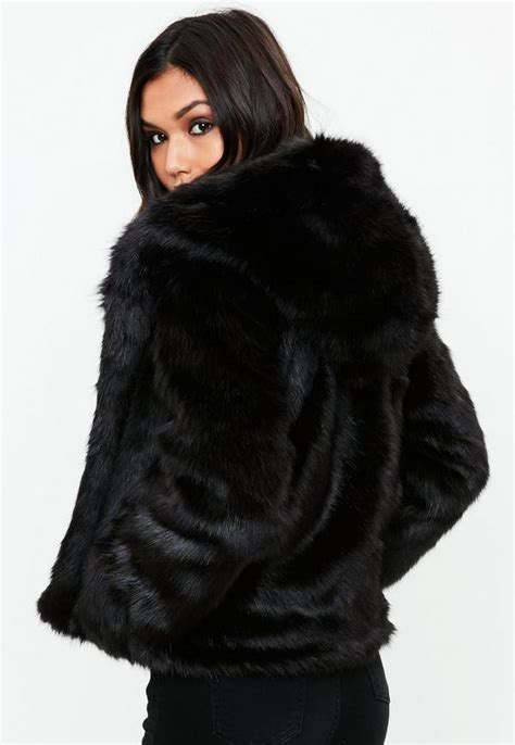 Faux Fur Hooded Coat black faux fur hooded coat missguided
