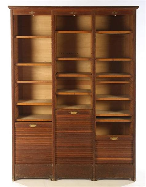 Roll Front Cabinet Doors Roll Top Cabinet Circa 1910 Three Vertical Tambour Doors For Sale At 1stdibs