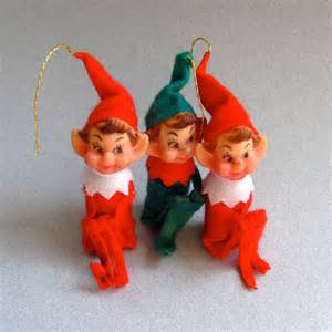 set of three elf christmas tree ornaments elves pixies