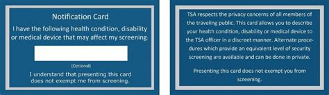 tsa notification card template new airport tsa screening and insulin pumps