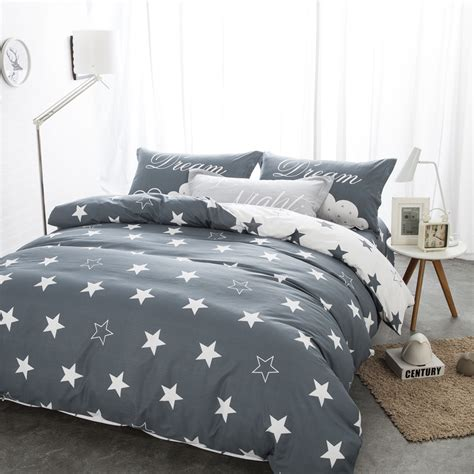 star bed bedding sets black and white star print 100 cotton twin
