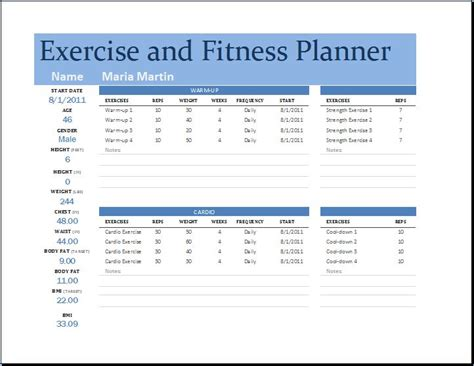 ms excel exercise and fitness planner template word