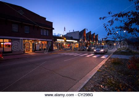 street l at night jasper alberta canada street stock photos jasper alberta