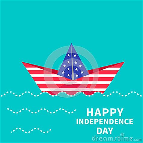 Independence Day Usa Essay by Happy Independence Day United States Of America 4th Of July Paper Boat Dash Line Stock