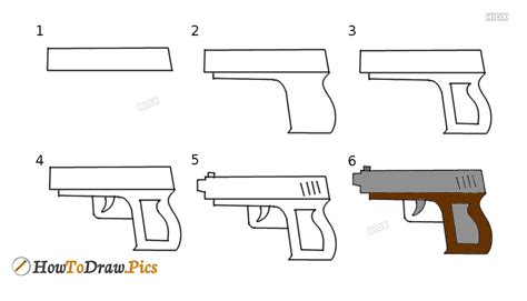 How To Draw A Gun Step By Step