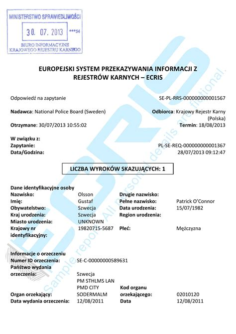 Italian Records Translation Swedish Criminal Record Check From The National Board Ecris