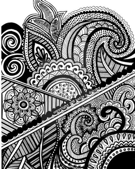 pattern design in drawing henna abstract line drawing print by viewfromtheedge on