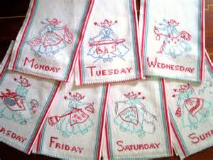 vintage kitchen towels set of 7 days of the week by