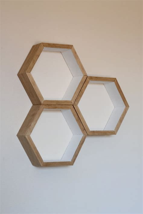 set of 3 honeycomb floating shelves hexagon shelf