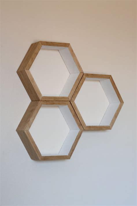 set of 3 honeycomb floating shelves hexagon shelf