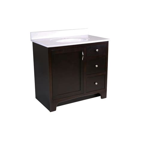 glacier bay 36 1 2 in w vanity in white with cultured