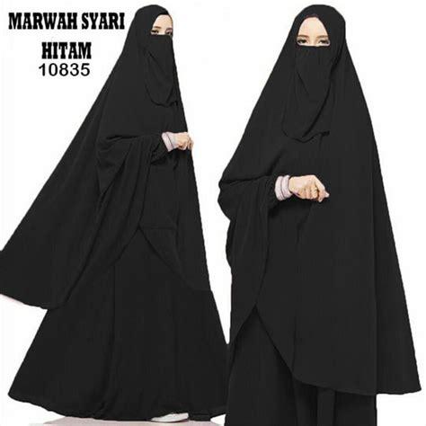 Gamis Muslim Syar I Islamabad Hitam Khimar gamis syari terbaru marwah hitam fg model baju gamis terbaru