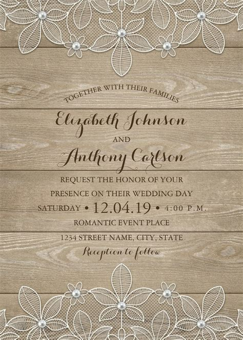 rustic wedding invitation wood and lace wedding invitation rustic wood lace wedding invitations vintage luxury cards