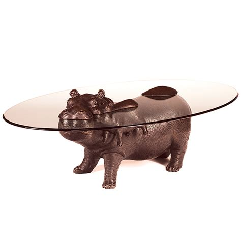 Hippo Coffee Table Bespoke Bronze Sculpture Stoddart Walk On The Wildside Coffee Table