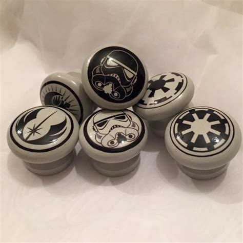 Wars Drawer Pulls set of six wars logo door drawer dresser knobs pulls